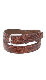 Brown Updated Alligator Embossed Leather Belt #BTB106N