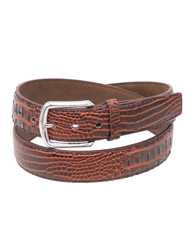 Brown Updated Alligator Embossed Leather Belt #BTB106N
