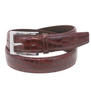 Brown Crocodile Belly Embossed Leather Belt #BTB103N