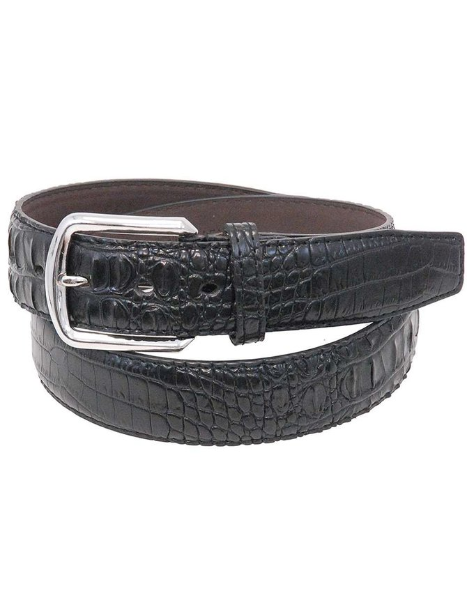 Black Updated Alligator Embossed Leather Belt #BTB108K