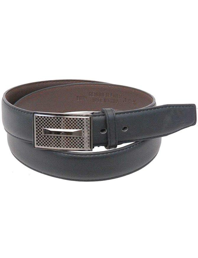 Sleek Plate Buckle on a Black Leather Dress Belt #BTB819K