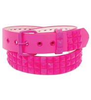 Pink 3 Row Pyramid Studded Leather Belt - SPECIAL #BTBY136PIN
