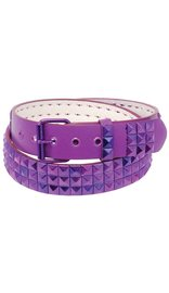 Purple 3 Row Pyramid Studded Leather Belt - SPECIAL #BTBY136PUR