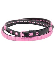 Single Row Narrow Pink Pyramid Studded Leather Belt - SPECIAL #BTBY138PP