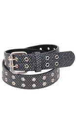 Black Shimmer Double Prong Leather Belt - SPECIAL #BTCBW1077K