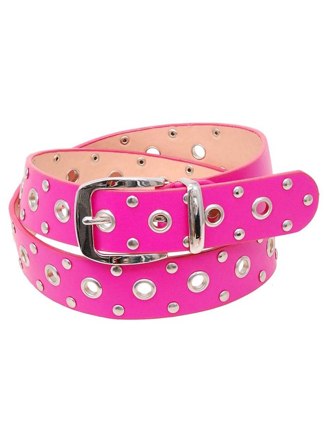Pink Leather Loaded Rivet & Grommet Belt - SPECIAL #BTCBW2021P