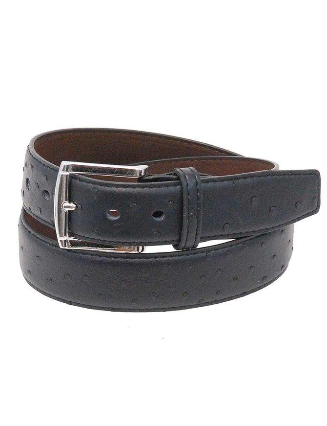 Black Ostrich Embossed Leather Belt #BTG020K