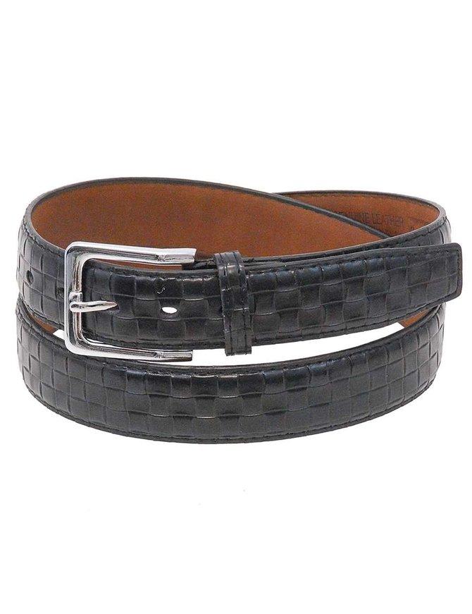 Black Basket Weave Embossed Leather Belt #BTJ32K