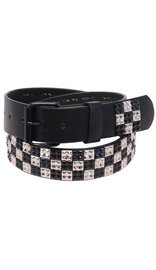 Black & Chrome Multi-Pyramid Studded Leather Belt - SPECIAL #BTMB015PYS