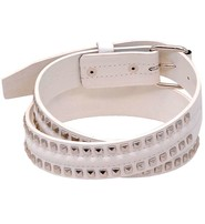 White Leather Pyramid Studded Leather Belt - SPECIAL #BTMB107W