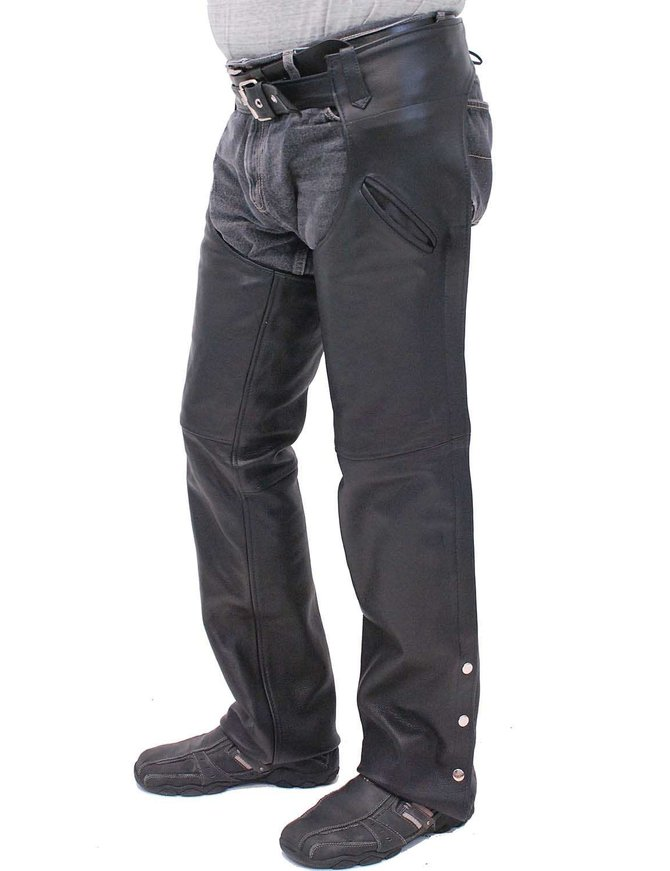Milwaukee Premium Naked Leather Chaps w/Snap Out Quilted Linings #C1103PZK