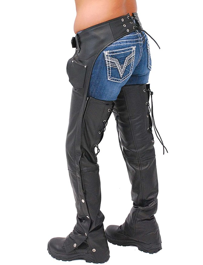 Jamin Leather Leather Chaps w/Adjustable Lace Thigh #C1115L