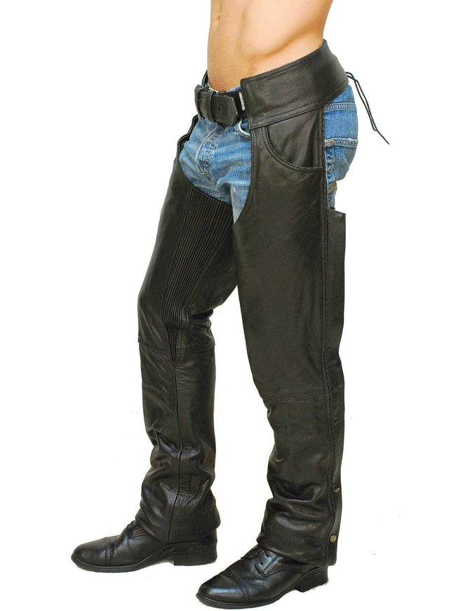 Jamin Leather Premium Buffalo Leather Chaps w/Pant Pockets & Stretch Thigh #C1125BP