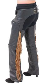 Brown Fringe Premium Leather Chaps - Special #C116FKN (M-4X)