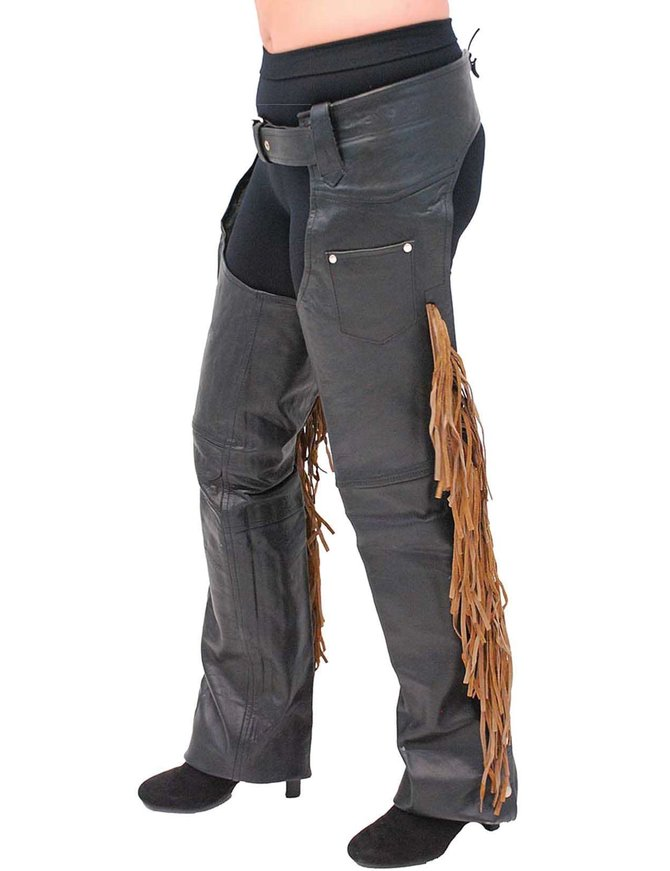 Brown Fringe Premium Leather Chaps - Special #C116FKN