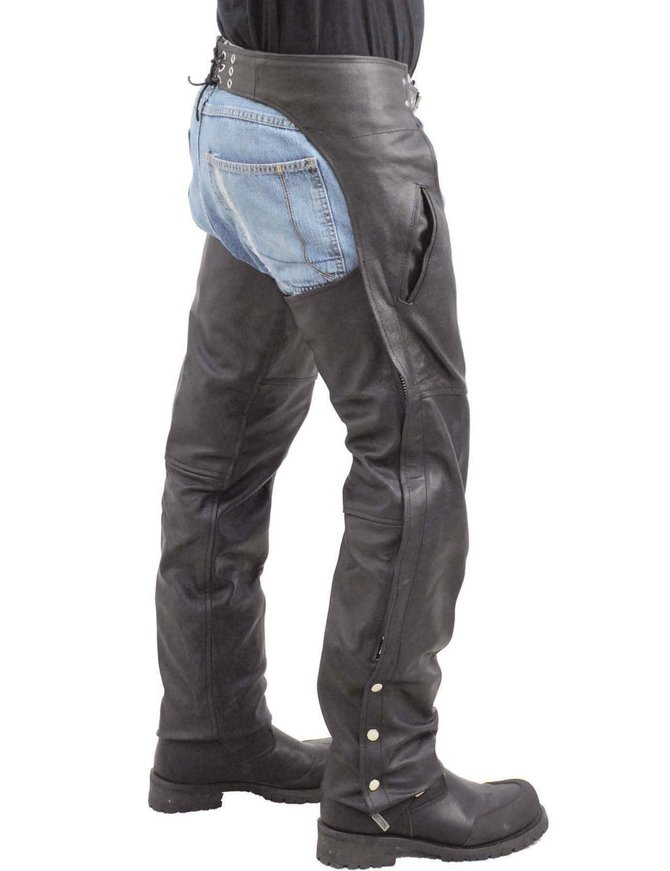 Unisex Leather Motorcycle Pocket Chaps - Special #C2100SP