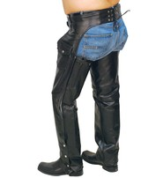 Jamin Leather Premium Black Leather Chaps w/Zip Out Lining #C236ZZK