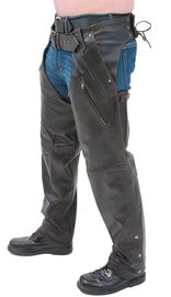 Jamin Leather Retro Dark Brown Leather Chaps #C2681ZRN (XS-3X)