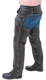 Jamin Leather Retro Dark Brown Leather Chaps #C2681ZRN (XS-3X)