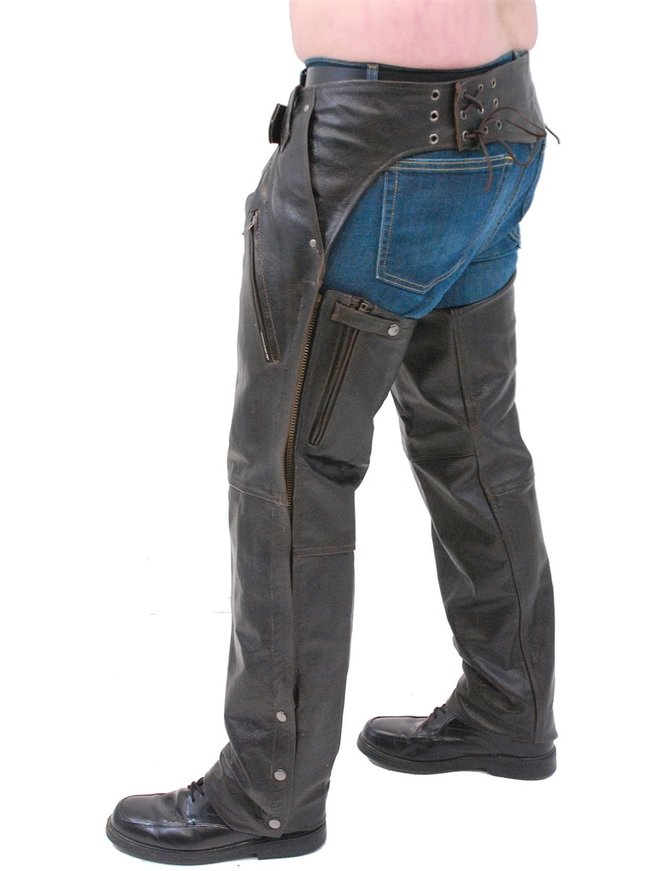 Jamin Leather Retro Dark Brown Leather Chaps #C2681ZRN
