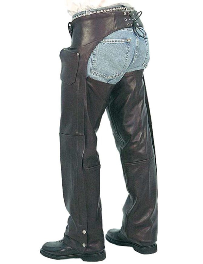 Milwaukee Leather Leather Mens Chaps Mens 3 Pocket Leather Chaps Thigh Patch Pocket Large