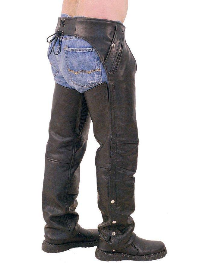 Unisex Premium Leather Chaps w/Snap Out Lining #C5077SPK