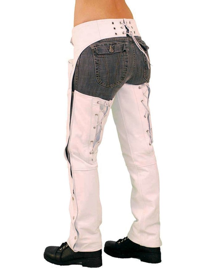 Leather White Leather Chaps by Jasmine, available on jaminleather.com for $119.99 Kim Kardashian Pants Exact Product