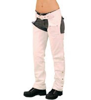 Jamin Leather White Leather Chaps w/Adjustable Back & Thigh Lacing #C6028LLW