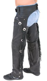 Jamin Leather Buffalo Leather Chaps w/Fringe & Conchos #C701CFB