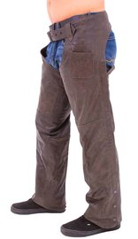 Jamin Leather Rich Brown Motorcycle Chaps - Premium Classic #C705N  (XL-5X)
