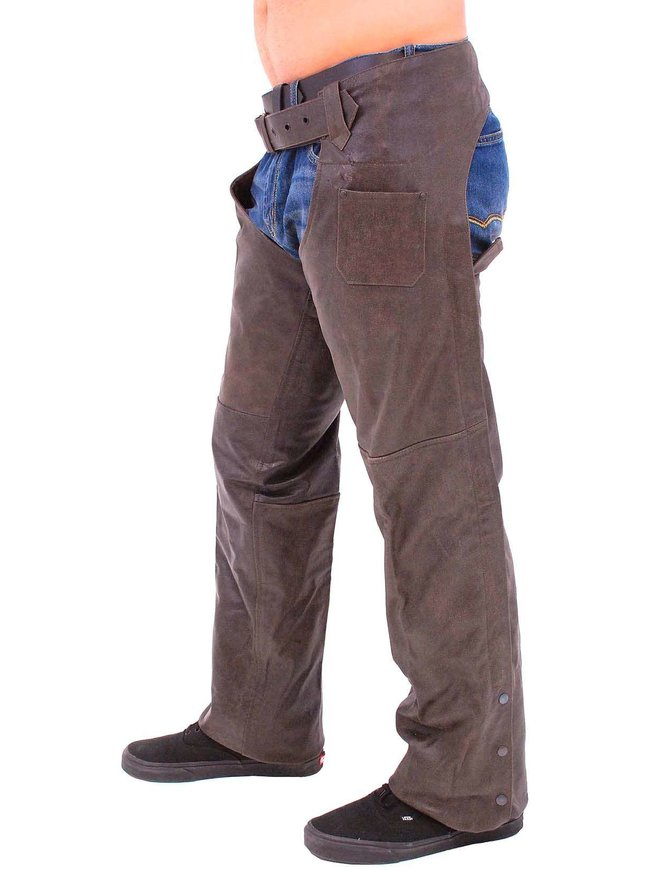 Jamin Leather Rich Brown Motorcycle Chaps - Premium Classic #C705N