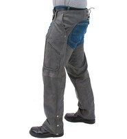 Jamin Leather Cobblestone Gray Leather Motorcycle Chaps w/Pockets #C706GY