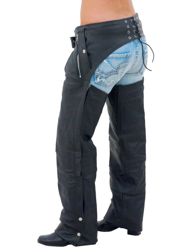 Jamin Leather Pocket Motorcycle Chaps w/Snap Out Quilted Lining - Special #C7130ZSP