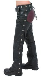 Unik Premium Leather Chaps w/Pant Pockets and Eyelets #C7165GPK (XXS-2X)