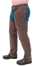 Unik Brown Leather Pocket Chaps #C722PN (S-3X)