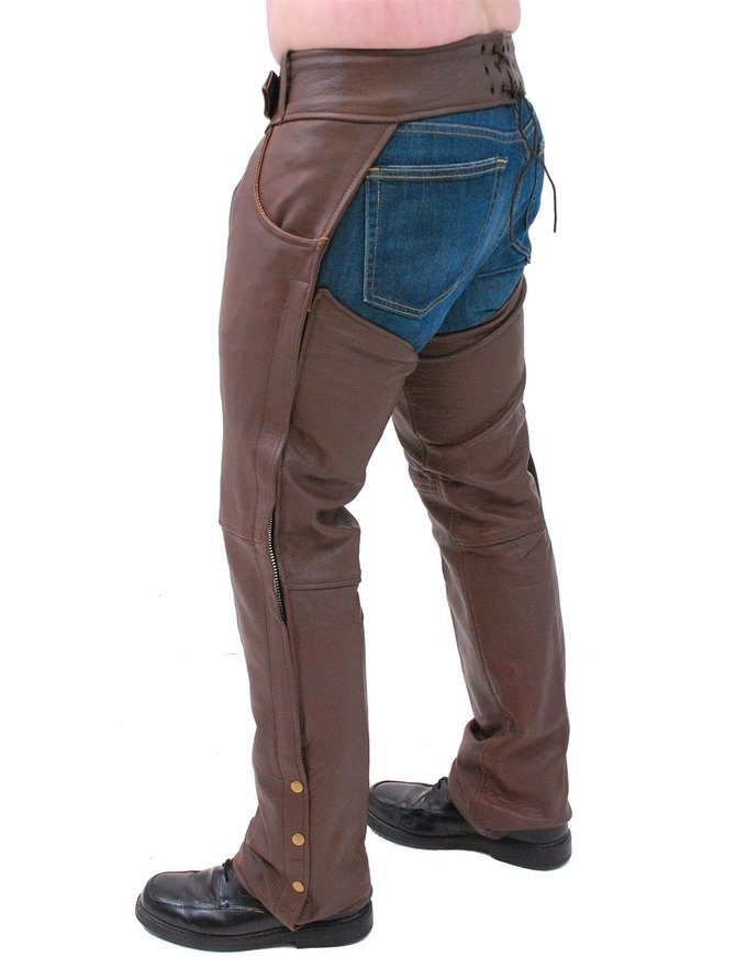 Unik Brown Leather Pocket Chaps #C722PN
