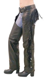 Unik Women's Leather Chaps w/Rear Fringe #C766F