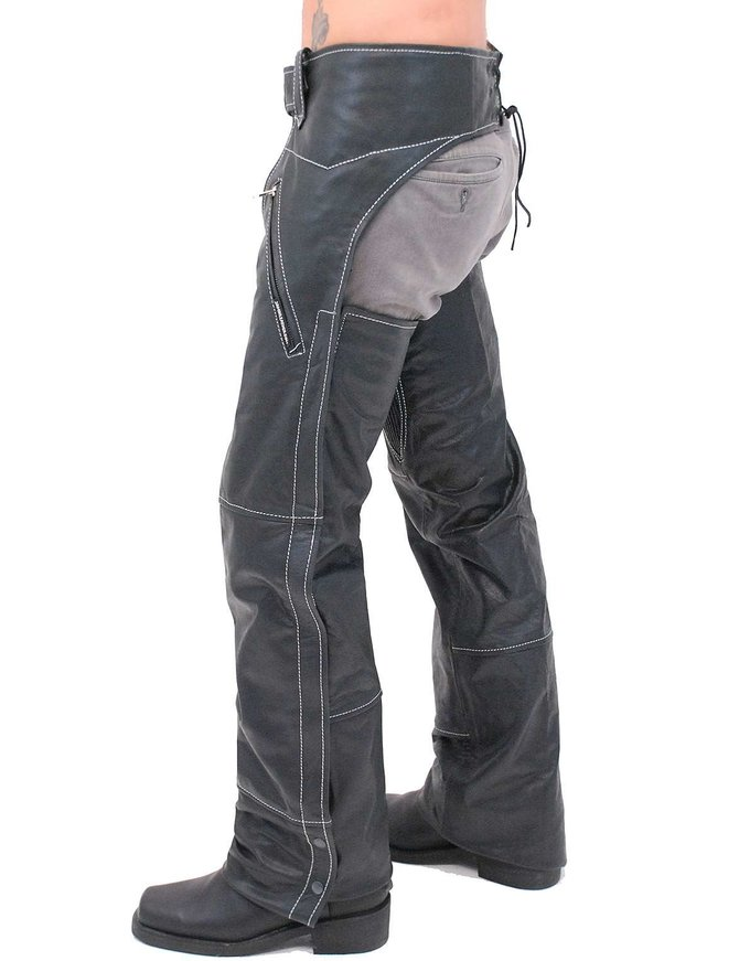 Jamin Leather Premium Naked Leather Zip Pocket Chaps w/Stitching #C909ZSWK