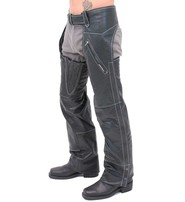 Jamin Leather Premium Naked Leather Zip Pocket Chaps w/Stitching #C909ZSWK