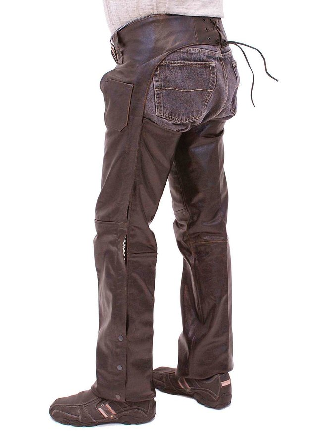 Jamin Leather Dark Brown Leather Chaps #C957RN