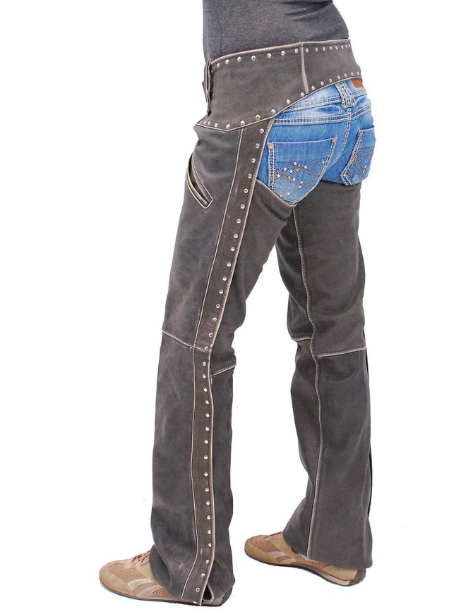 Jamin Leather Women's Studded Trim Vintage Brown Chaps w/Pant Pockets #CA2801RDN