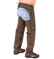 Milwaukee 4 Pocket Vintage Brown Leather Chaps w/Removable Lining #CA5500ZDN