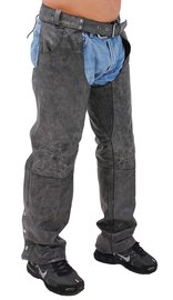 Jamin Leather Hand Painted Trim Vintage Gray Pocket Chaps w/Stretch Thigh #CA808PGY (M-3X)