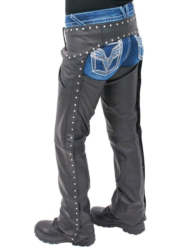Jamin Leather Women's Low Rise Premium Leather Studded Pocket Chaps #CL2801PR