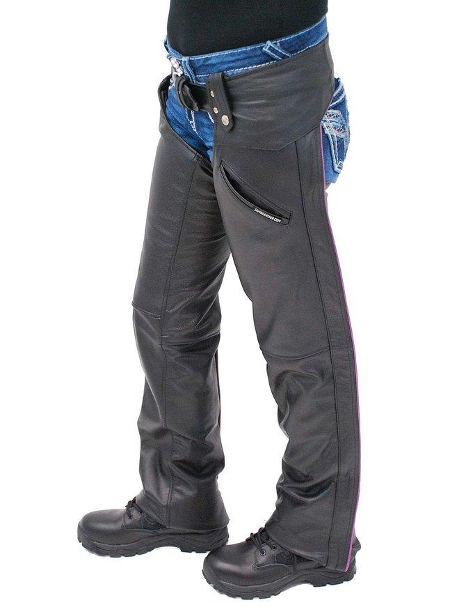Jamin Leather Women's Low Rise Purple Trim Premium Pocket Leather Chaps #CL2803PPUR