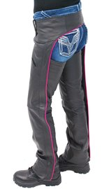 Jamin Leather Women's Low Rise Pink Trim Premium Pocket Leather Chaps #CL2804PPIN (XS-3X)