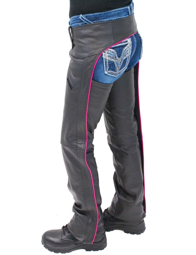 Jamin Leather Women's Low Rise Pink Trim Premium Pocket Leather Chaps #CL2804PPIN