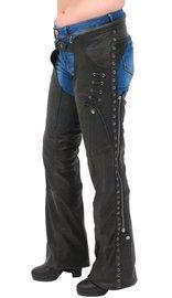 Milwaukee Eyelet Trim Stretch Thigh Naked Leather Chaps w/Zip Pocket #CL6535EYEK