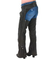 Milwaukee Eyelet Trim Stretch Thigh Naked Leather Chaps w/Zip Pocket #CL6535EYEK