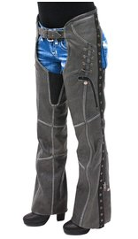 Milwaukee Eyelet Trim Stretch Thigh Vintage Gray Leather Chaps w/Zip Pocket #CL6536EYGY